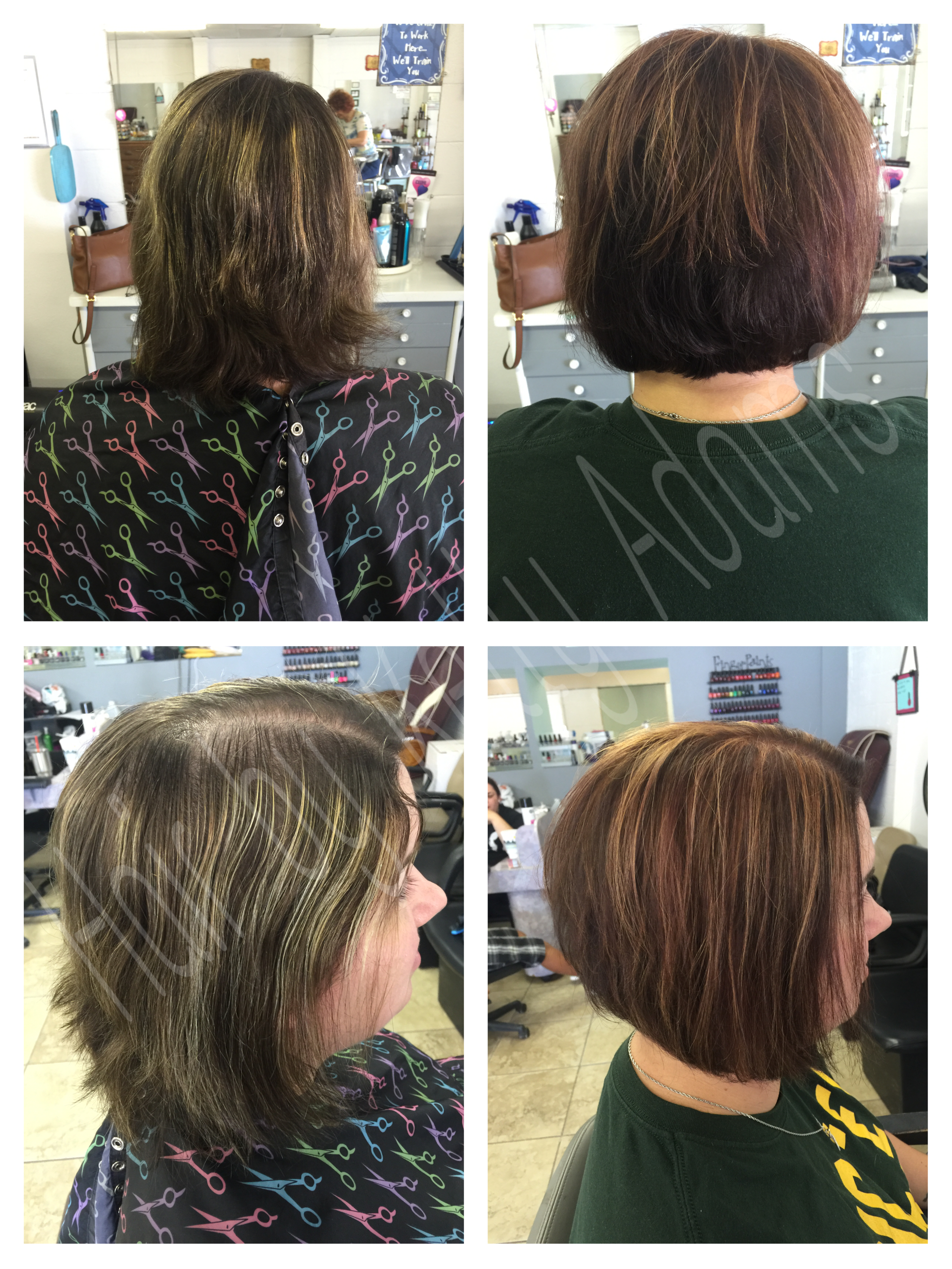 Stacked bob Copper highlights Brown copper base Fall color