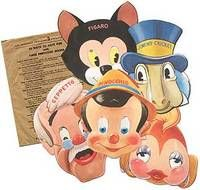 Pinocchio Masks (Walt Disney Productions / Gillette Blue Blades: 1939) -- offered by Between the Covers Rare Books, Inc.