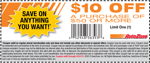 graphic relating to Gnc Printable Coupons 10 Off 50 called $10 off $50 at AutoZone Discount codes inside 2019 Printable