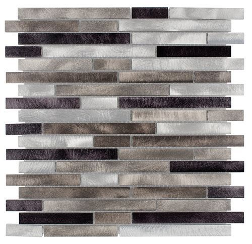 """Aluminum Mosaic Tile Interlocking Champagne Mix. It is made with 100 % aluminum and mesh mounted on a 12 x 12 sheet as mosaic tile for Kitchen backsplash and walls. The individual tile size is 1"""""""" x 2"""