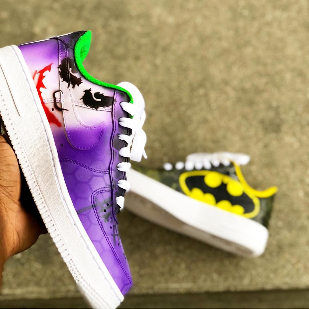 """a73cf6f325bde Air Force 1 """"Joker Batman"""" 。This Custom shoe was Done By 👉  chitownkustomz  👈 ✅If you are interested in this shoe please contact…"""