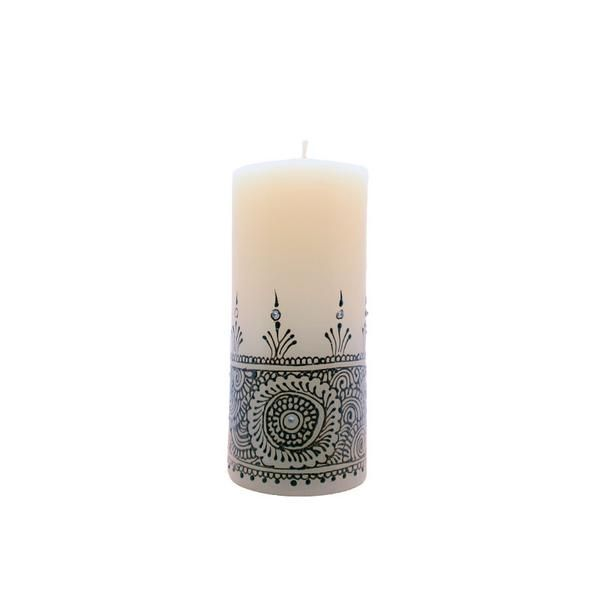 Buy online white mehandi pillar candle for home decor