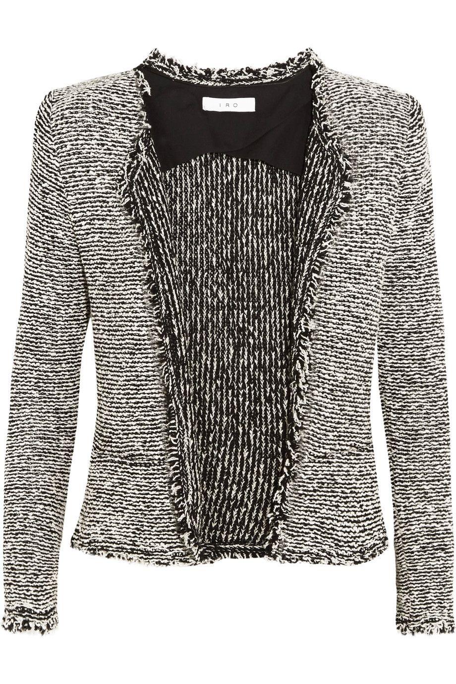 Azure Frayed Cottonblend Bouclé Jacket Boucle jacket