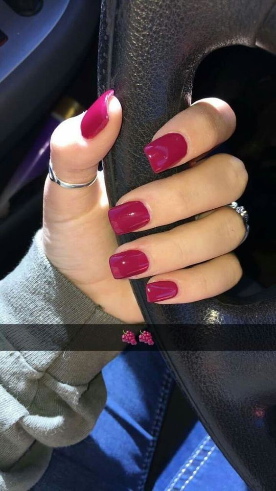 Super Easy Fall Nail Designs For Short Nails With Images Red Gel Nails Fall Acrylic Nails Dark Pink Nails