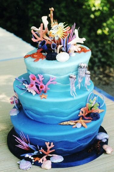 ocean themed wedding cakes another beautiful themed cake cakes 17967