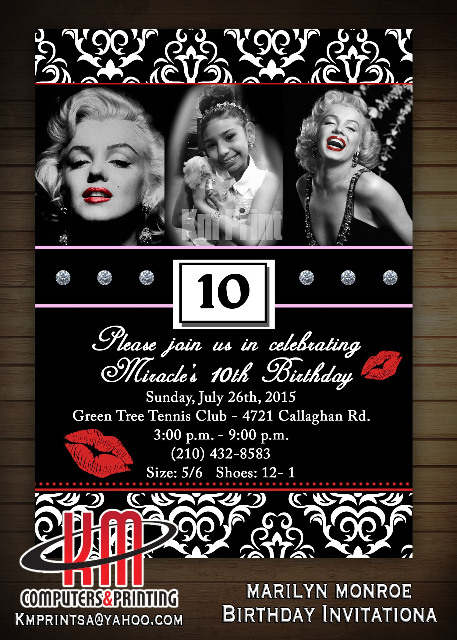 Marilyn Monroe Invitations - Printable - Hollywood, Movie, Marilyn ...