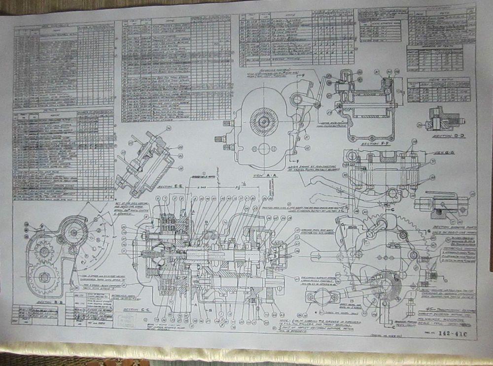 HARLEY DAVIDSON Flathead Transmission Blueprint Plans HD Poster - Us map blueprint