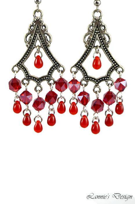 Red Teardrop Chandelier Earrings Posts Hooks Clip Ons