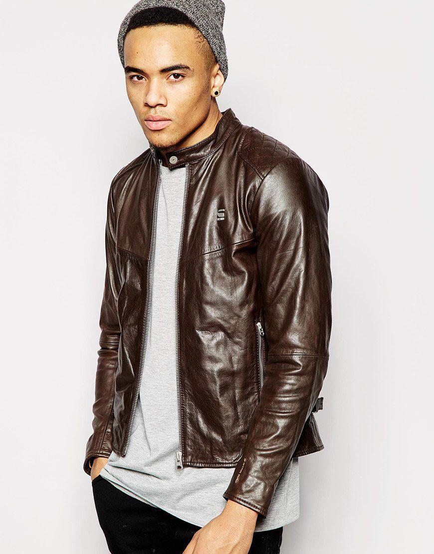 G Star Leather Jacket Edla Biker Zip Front At Asos Com Best Leather Jackets Leather Jacket Leather Jacket Men [ 1110 x 870 Pixel ]