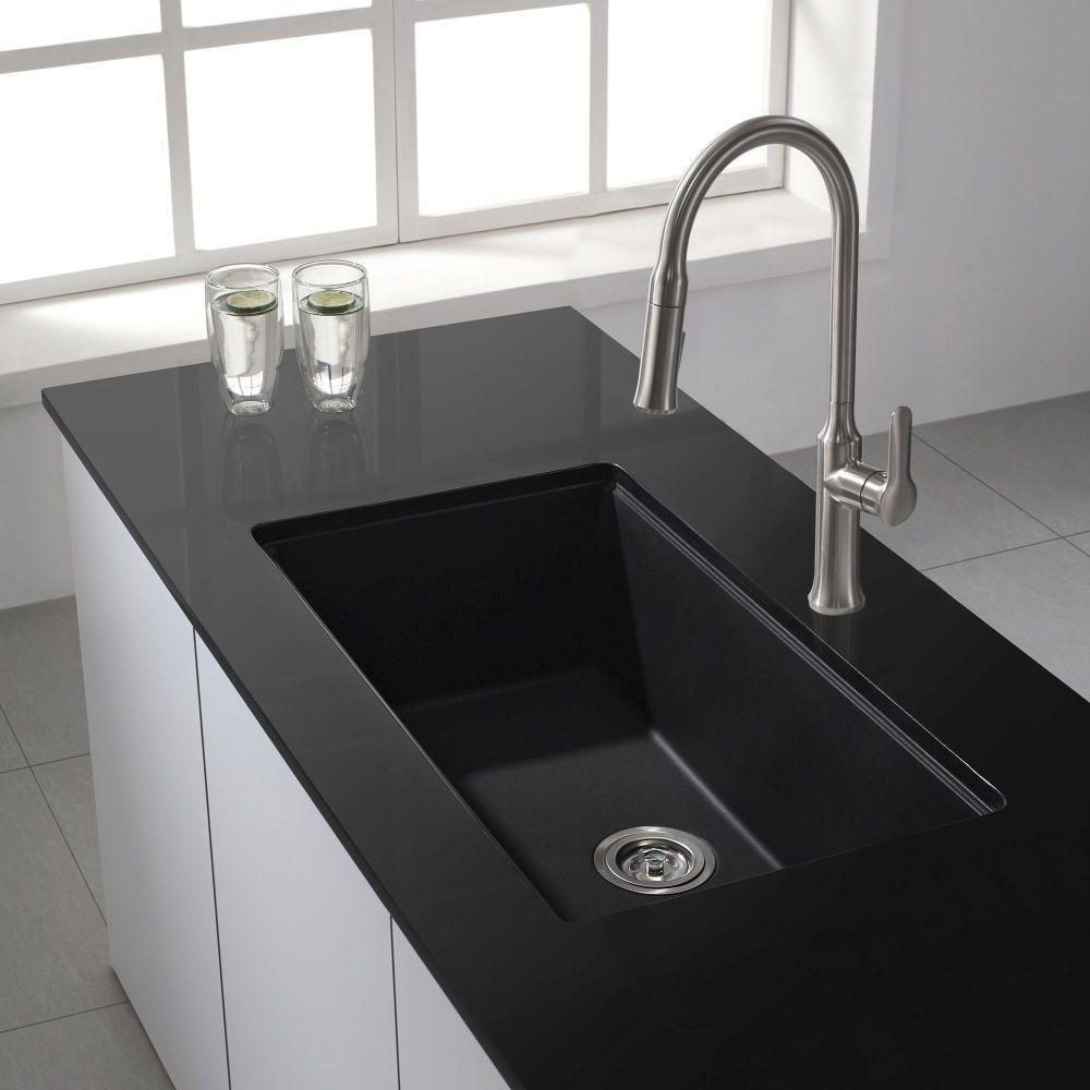 Kraus kgu 413b universal kraus 31 inch undermount single - Black kitchen sink undermount ...