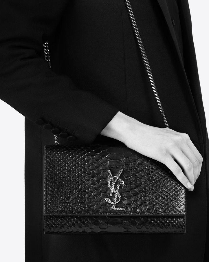 Black Croc Medium Tassel Kate Chain Bag Saint Laurent ovxkvP