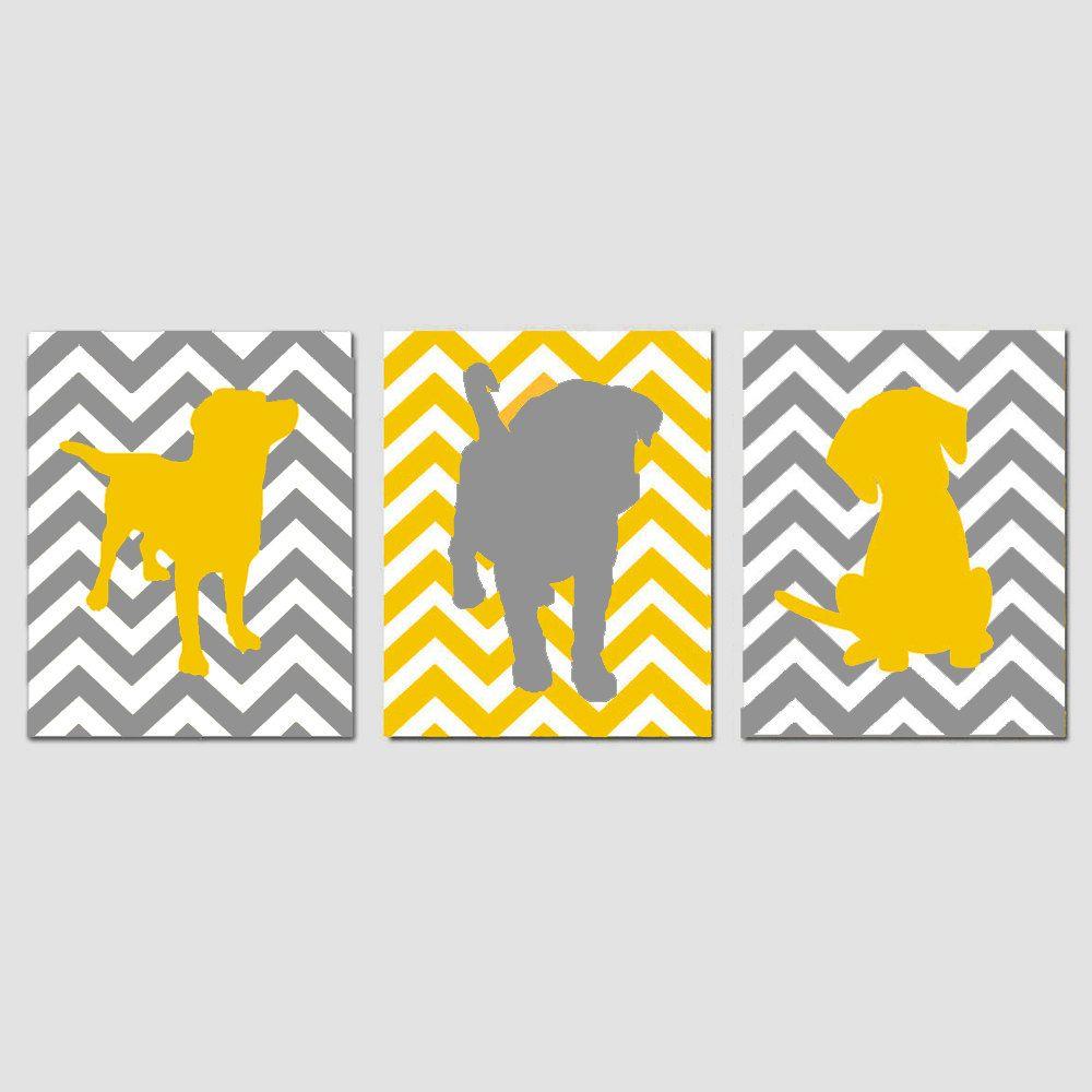 Chevron Puppy Dog Nursery Art Trio - Set of Three 8x10 Prints ...