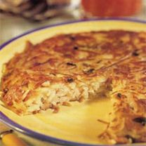 Rosti Potatoes with Ham & Cheese... 185 Calories..  Traditional versions of this crisp Swiss potato cake virtually swim in butter. By baking the cake, we were able to dramatically reduce the fat yet retain crispness.