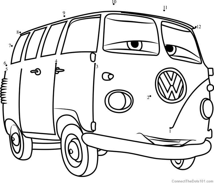Fillmore From Cars 3 Dot To Dot Warna Gambar Buku Mewarnai