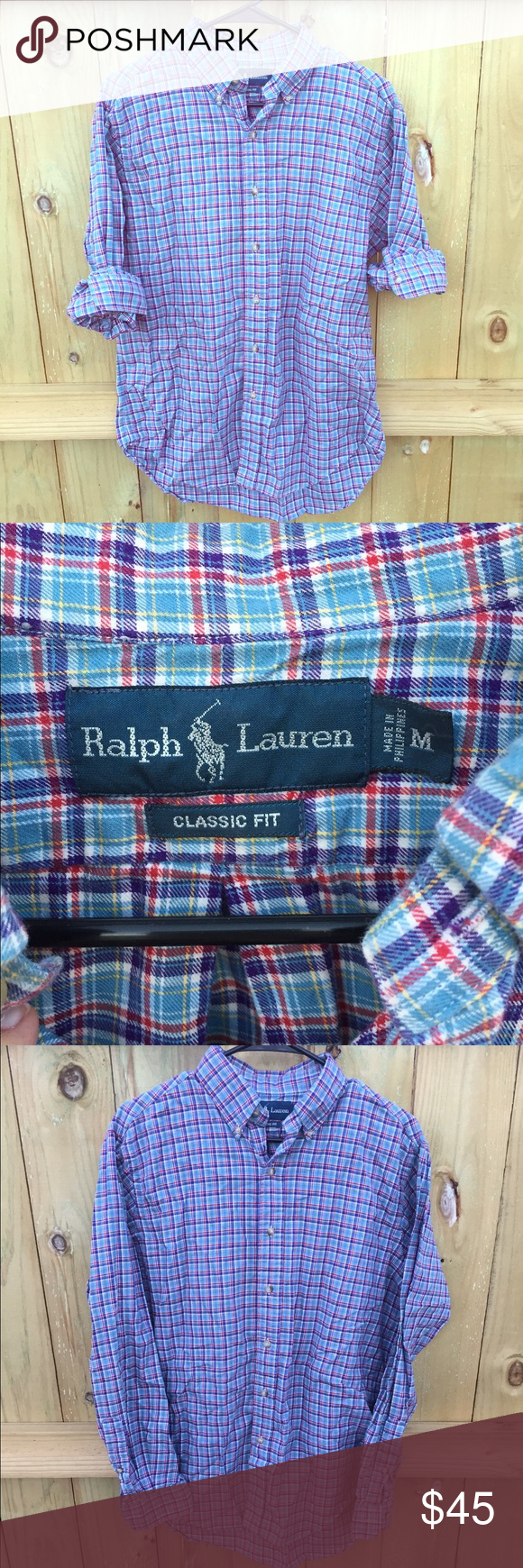 """Men's Ralph Lauren Plaid Button Down🔹 Plaid button down top. Classic fit. Material: 100% cotton. Measurements: 18"""" across the shoulders, 27.5"""" from shoulder to bottom. 