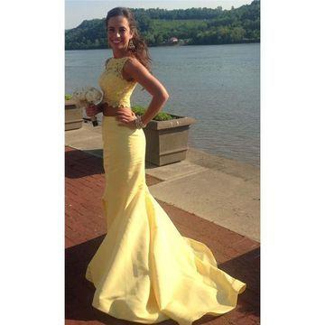 827b2330bf 49%OFF Long Yellow Mermaid Sleeveless Zipper Appliques Prom Dresses 2019  Two Piece – lolipromdress