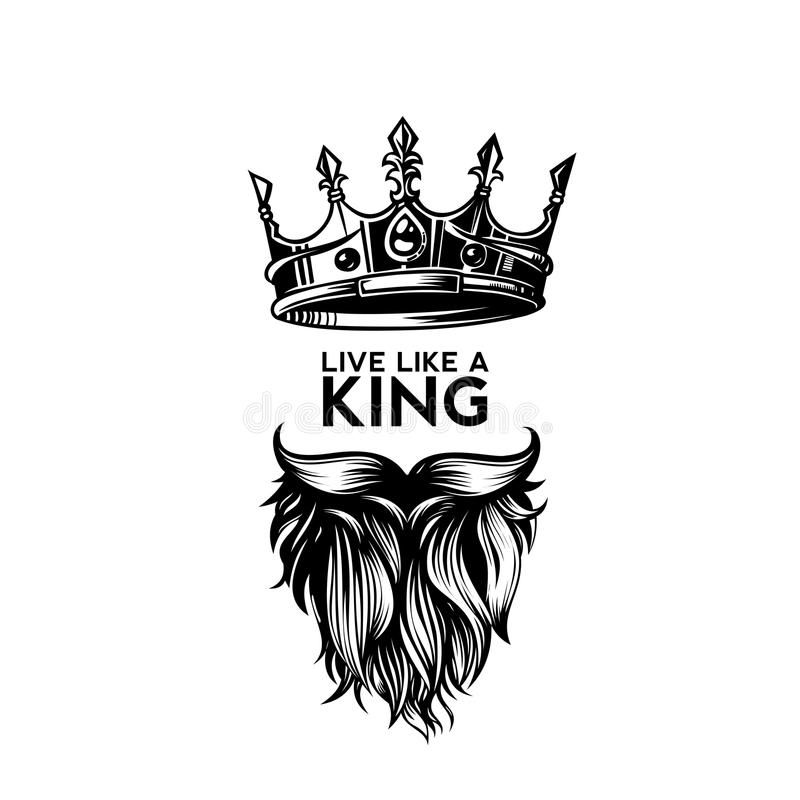 Photo About King Crown Moustache And Beard On White Background Logo With Typography Vector Illustration Design Illustr Beard Logo Beard Logo Design Beard Art