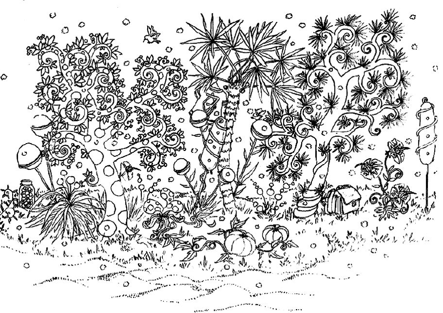 Coloring Page Adults Drawing Flowers Vegetation Tree Art