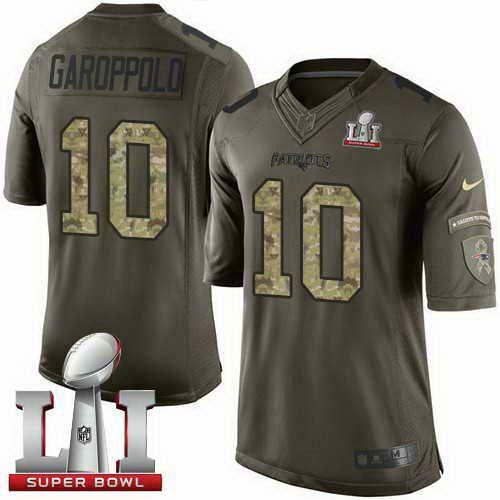 Men s Patriots  10 Jimmy Garoppolo Green Super Bowl LI 51 Stitched NFL  Limited Salute To Service Jerseys 797dd9b15