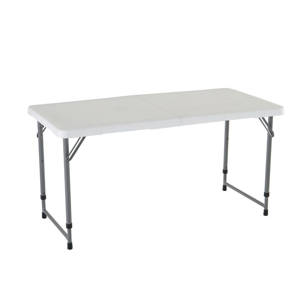 Folding Utility Table Portable Plastic Height Adjustable Carry Handle 4ft Adjustable Height Table Folding Table Legs Adjustable Table