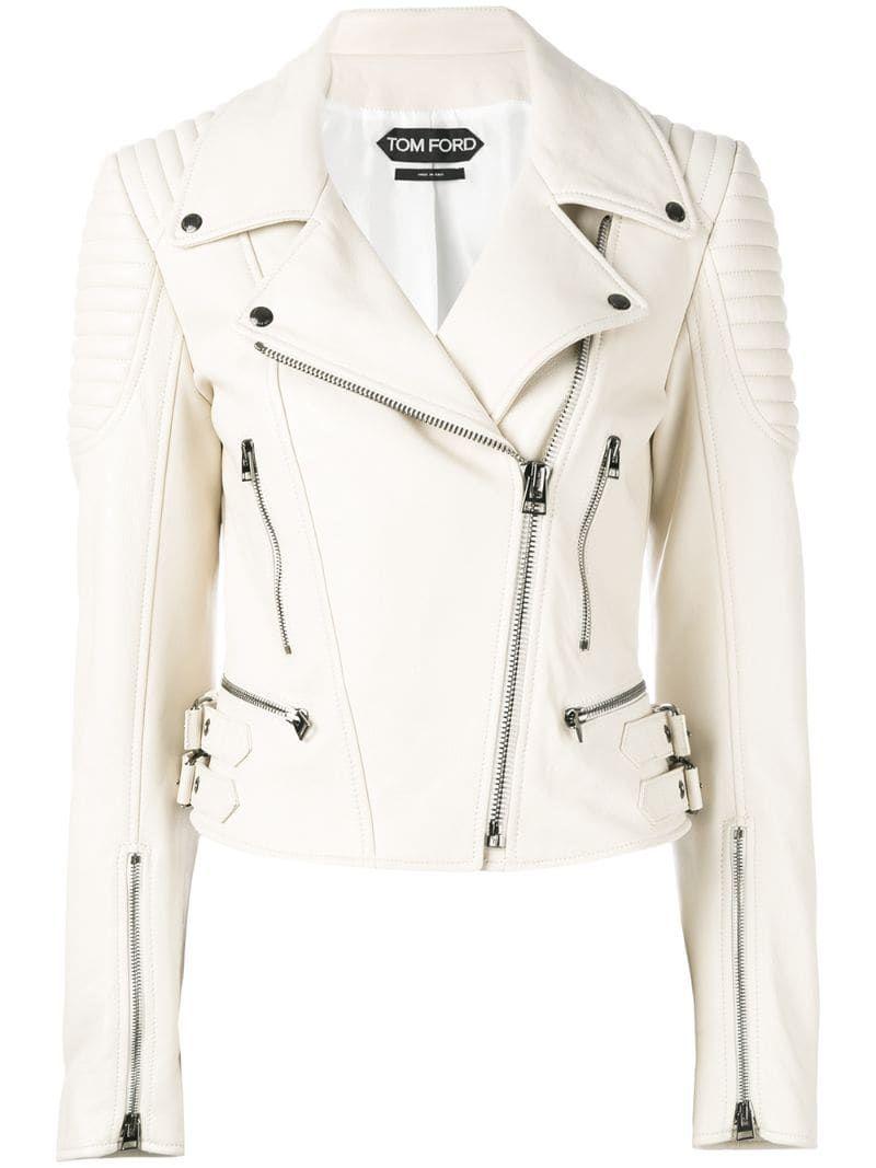 Tom Ford Leather Biker Jacket White Chaqueta Cuero Mujer Chaquetas De Cuero Blanco Casacas De Cuero Mujer