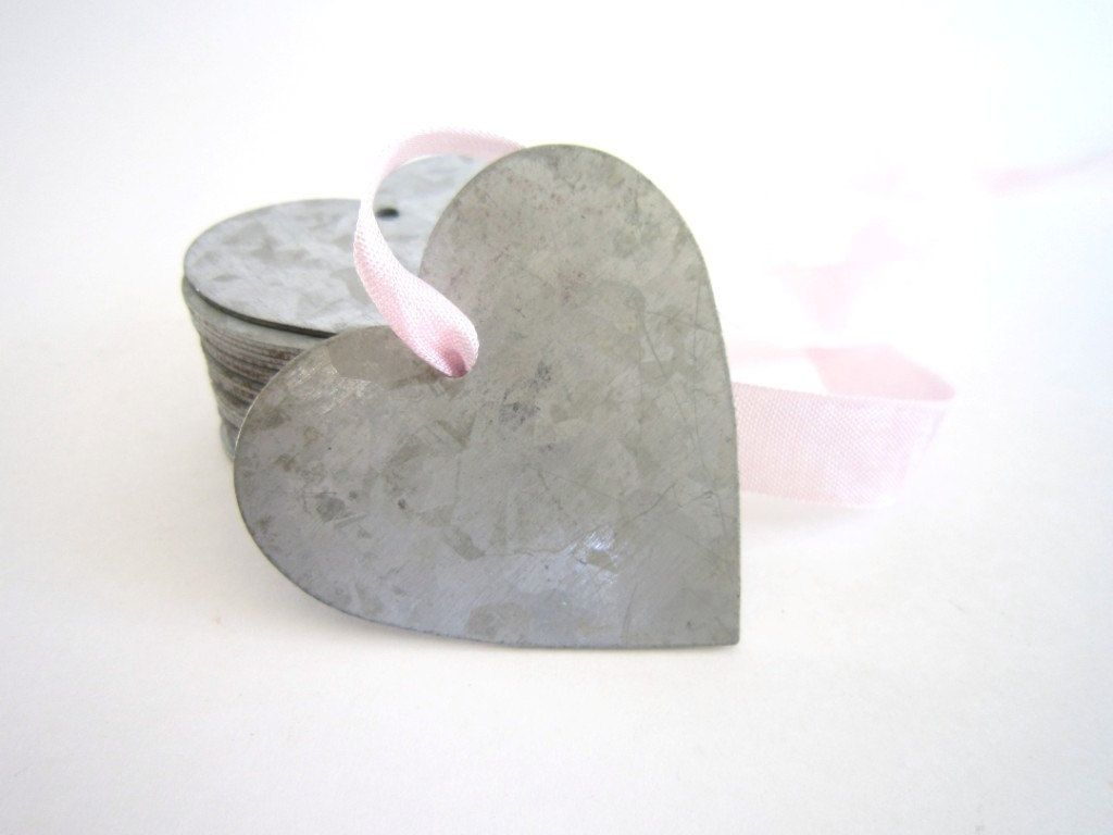 3 Galvanized Metal . metal tags . heart tags . tin heart . gift tags ...