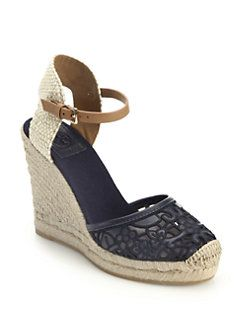 efb515399 Tory Burch - Lucis Lace Espadrille Wedge Sandals