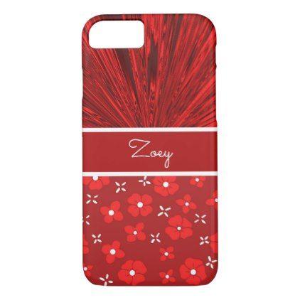 Pretty Red Satin N Flowers Monogram IPhone 7 Case