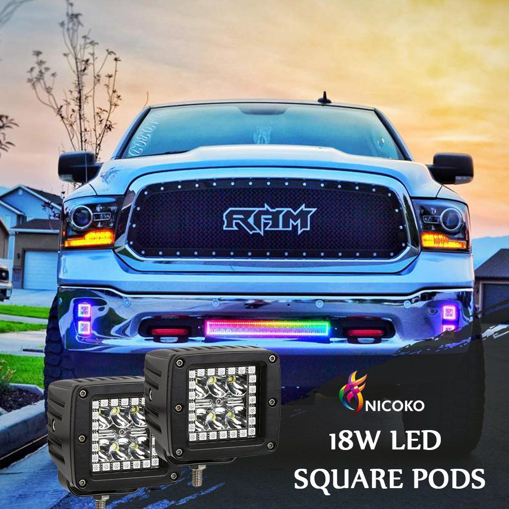 Pack 4 Nicoko Multicolor RGB LED Rock Light Kits with remote control 10 solid colors Many Flashing Modes Neon Lights Under Off Road Truck SUV ATV Motorcycle wiring Harness,1 year warranty