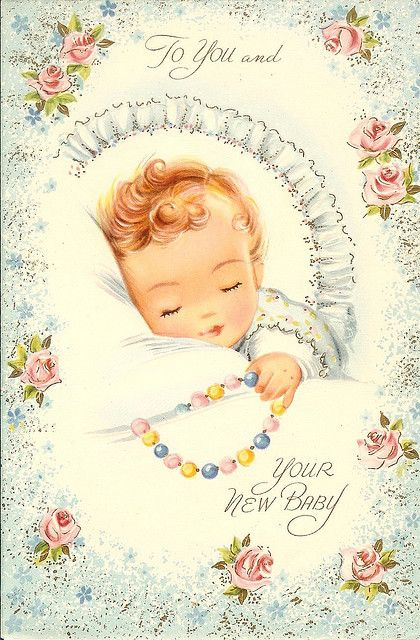 Curly Headed Dreamer CARDS Baby Shower Vintage
