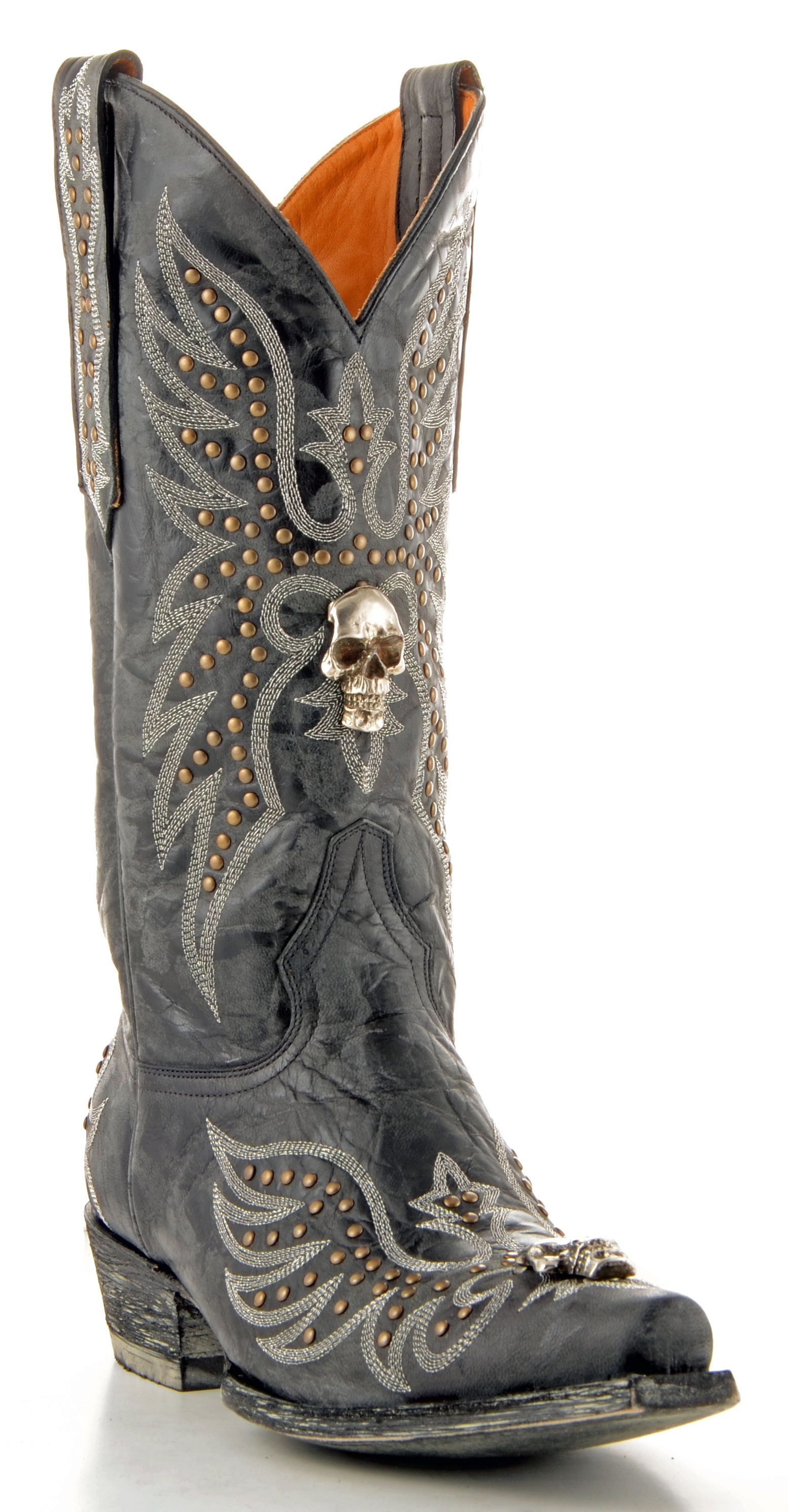 Men's Old Gringo Hitchcock Boots Black/Silver #M588-2 | Skulls ...