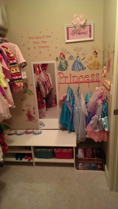 Corner Of Little Girlu0027s Walk In Closet Turned Into A Disney Princess Dress  Up Boutique. With Vinyl Princess Stickers/decals And Full Length Mirror. So  Cute.