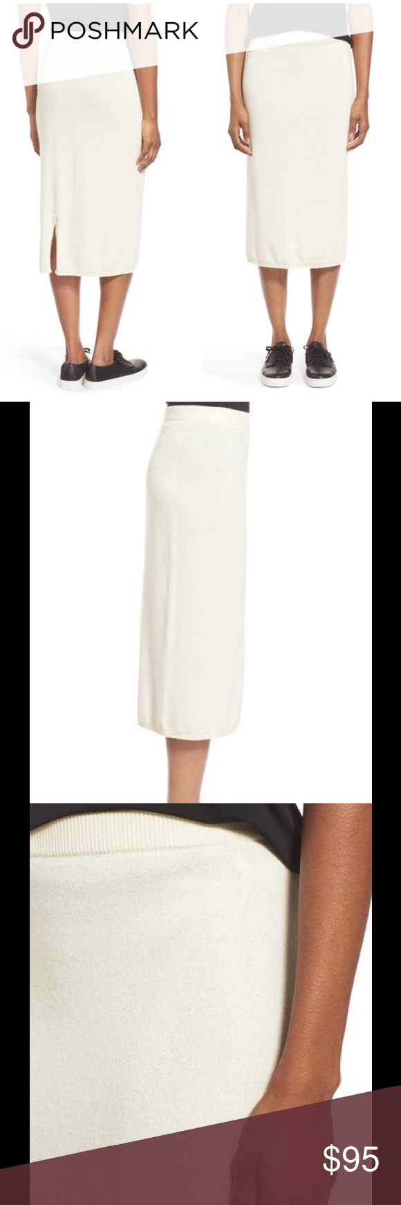 """🆕 Eileen Fisher cashmere pencil skirt off white A lush knit of pure Italian cashmere gets a pull-on pencil skirt ready for cooler weather. A back vent eases the slim, straight fit. 30"""" length. Pull-on style; elastic waist. Semi-sheer. 100% cashmere. Brand new with tag. Retail price $328. Eileen Fisher Skirts Pencil"""