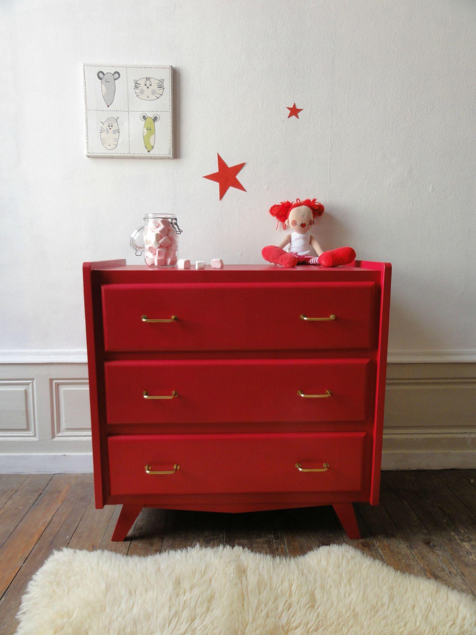 commode 50 39 s rouge 1 chambre bb mobilier de salon. Black Bedroom Furniture Sets. Home Design Ideas