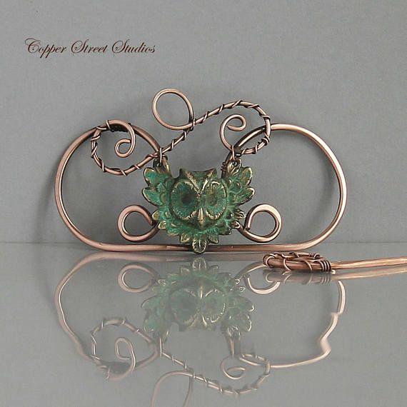 Green Patina Owl Hair Clip Copper Wire Barrette Hair Slide ...