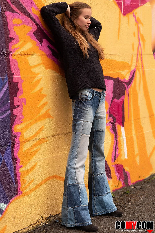 Damen Jeans Patchwork Schlaghose Star Composite in 2020