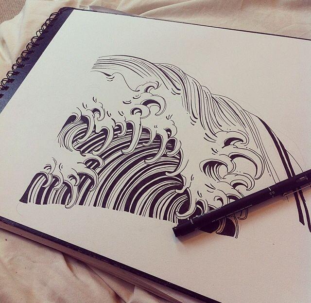 japanese waves tattoos | Tumblr | J a p | Japanese wave ...Waves Drawing Tattoo