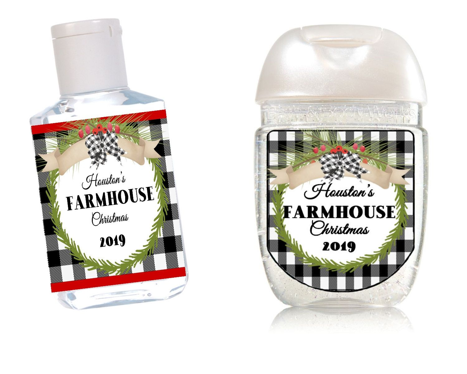 Farmhouse Christmas Hand Sanitizers Plaid Black And White