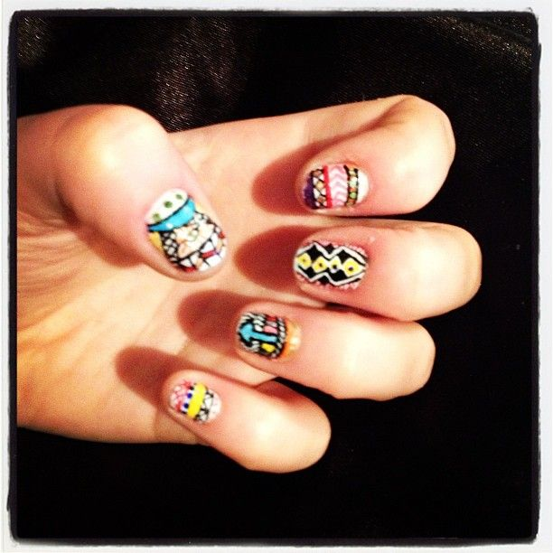 Aztec/Tribal nail art.
