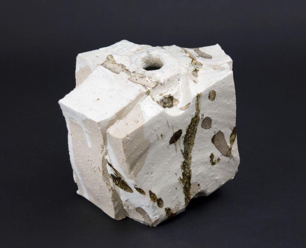 Shozo Michikawa Small Twist Form Stoneware with Kohiki glaze 5 x 7 x 4 inches / 12.7 x 17.8 x 10.2 cm / SMi 6