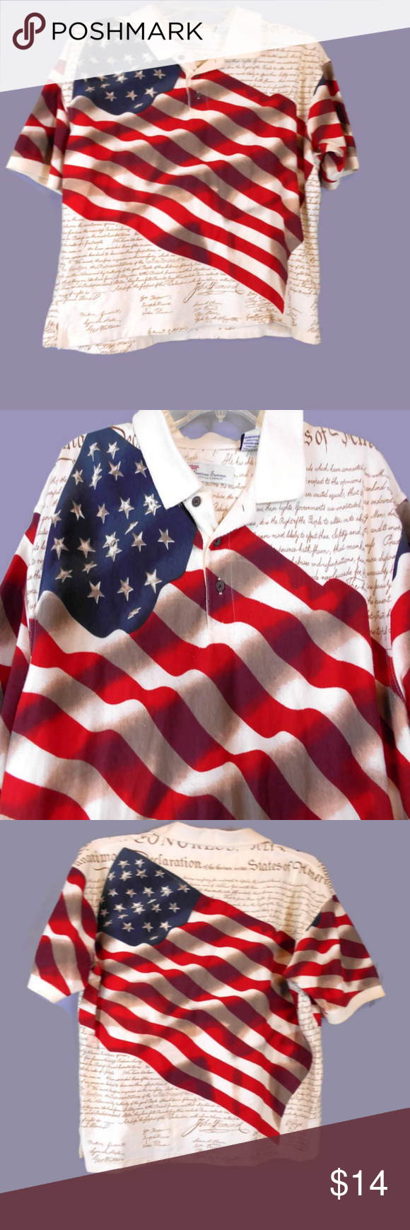 4899a60c7 Declaration of Independence Flag Print Polo Unique Cotton Polo, Featuring  an American Flag and Declaration of Independence Writing Background, Polo  Pullover ...