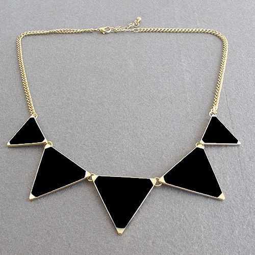 Black geometrical Triangle Necklace Jewelry for women Designer