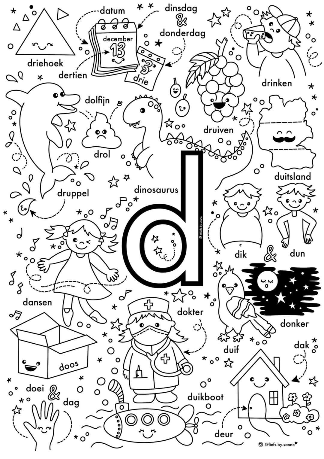 D Woorden Kleurplaat Letterherkenning Spelletjes Alfabet Boek Letterherkenning
