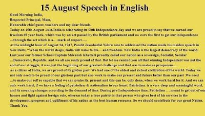 15 August Speech in English - Happy Independence Day 1
