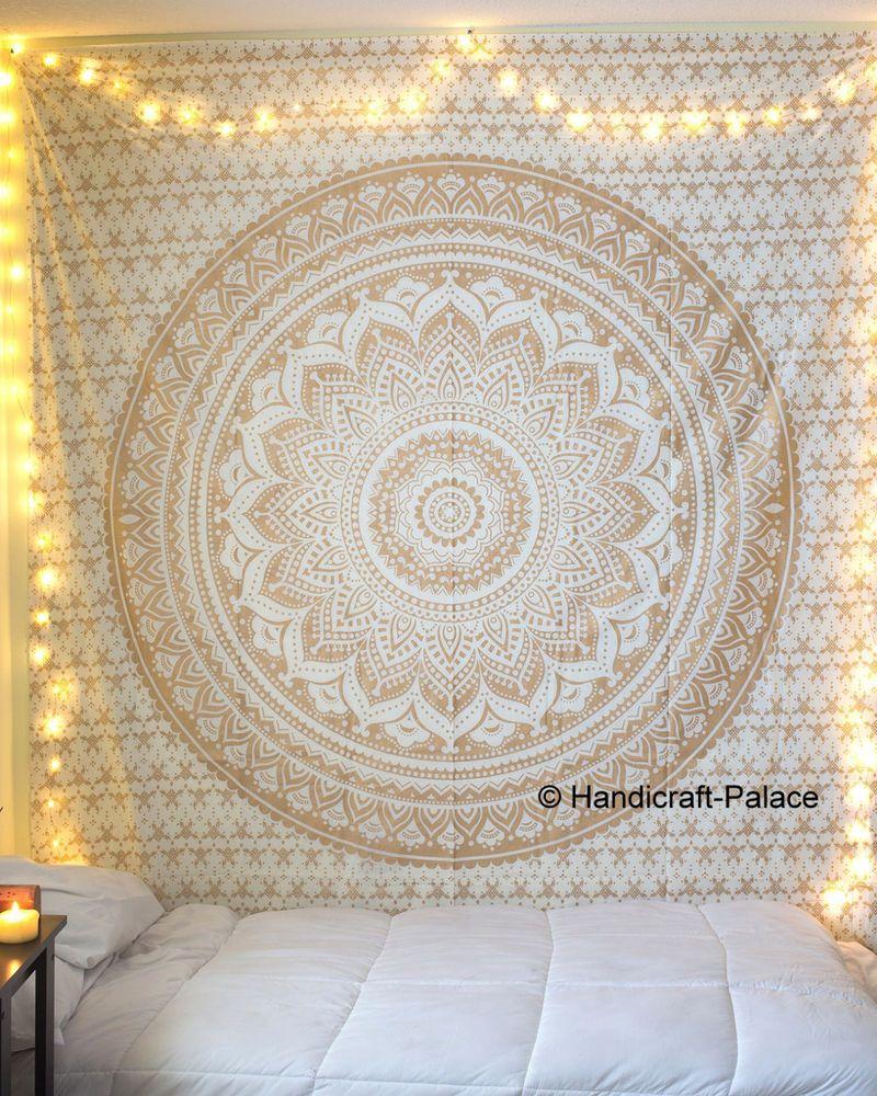 Indian Mandala Tapestry Hippie Wall Hanging Bohemian Gold  ~ Papel De Parede Hippie Para Quarto