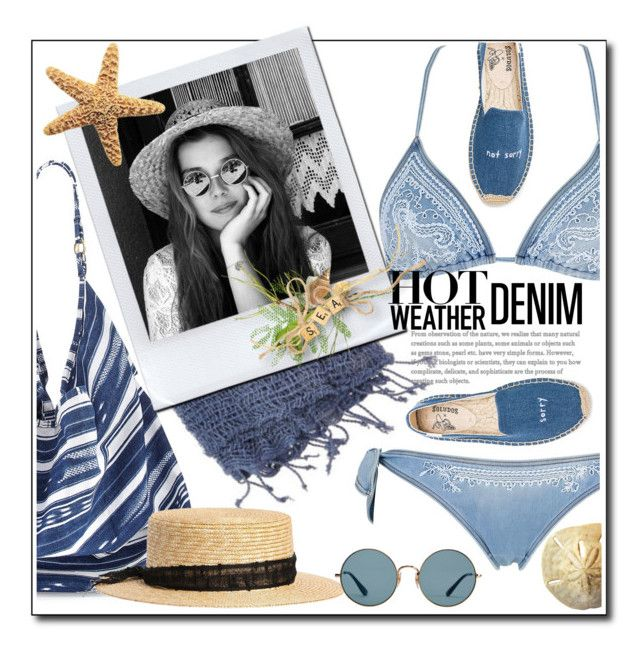 """""""hot weather denim"""" by luvfashn ❤ liked on Polyvore featuring Ermanno Scervino Lingerie, La Blanca, Lulii, Super Duper, Ray-Ban and Soludos"""