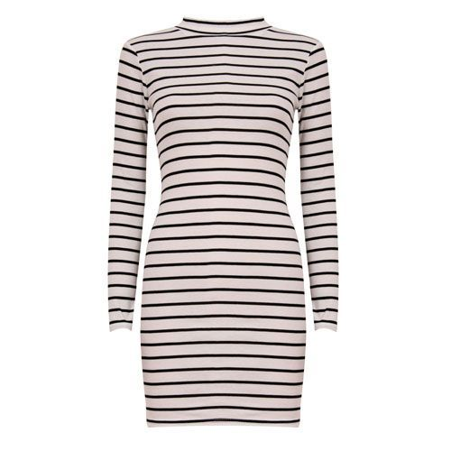 Stripes Longsleeve Dress Wit-Zwart