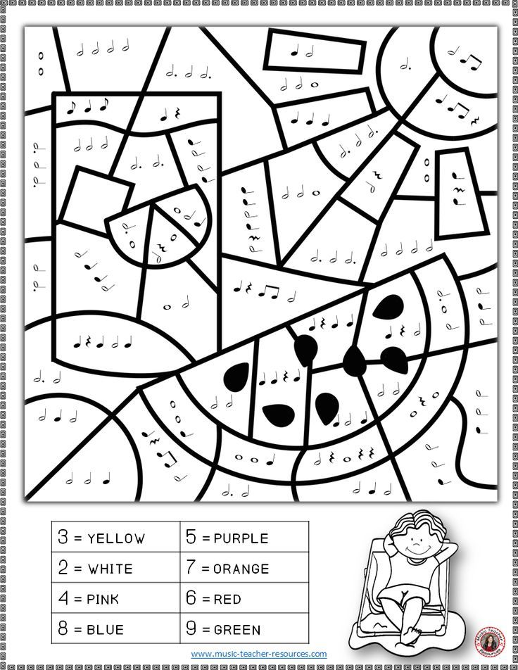MUSIC WORKSHEETS: COLOR By MUSIC NOTES And RESTS This Set Contains 26  SUMMER Music Coloring … Music Coloring, Music Lessons For Kids,  Elementary Music Classroom