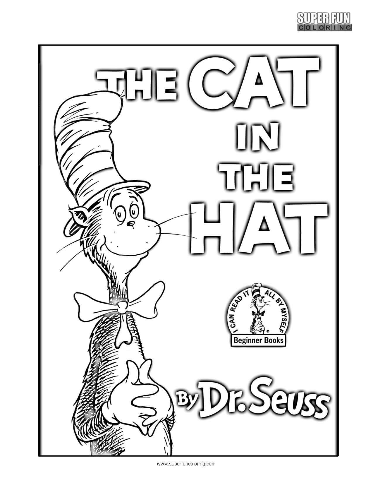 Book Cover Coloring Page The Cat in the Hat Book