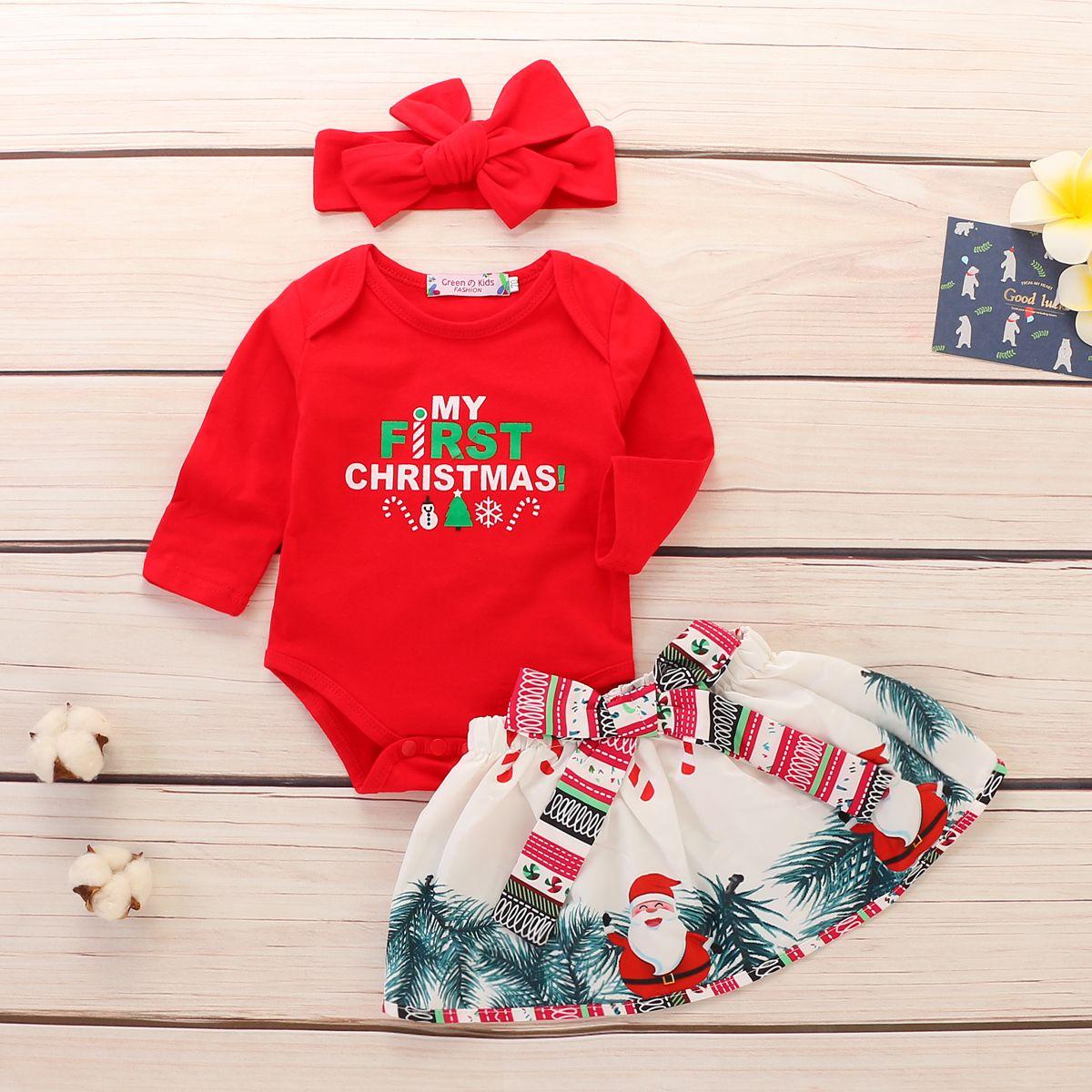 Headband Clothes 3PCS Skirt US My First New Year Newborn Baby Girl Ronper Tops